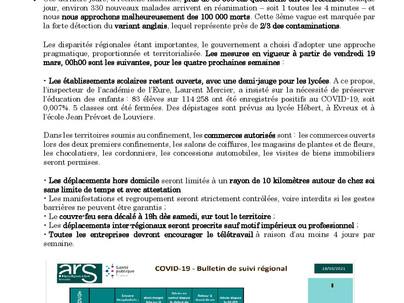 Lettre d'information COVID19 et mesures sanitaires dans l'Eure
