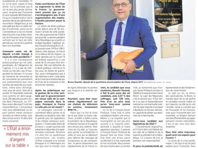 """Interview dans La Dépêche : """"La vie ne sera plus jamais comme avant"""" Bilan de l'année 2020"""