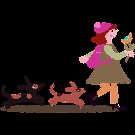 Tyttö kävelyllä kahden koiran kanssa