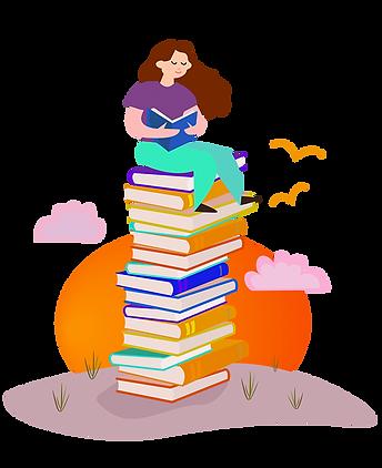 Tyttö istuu selkokirjojen päällä ja lukee selkokielistä kirjaa
