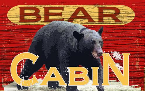 Bear Cabin TIN SIGN.