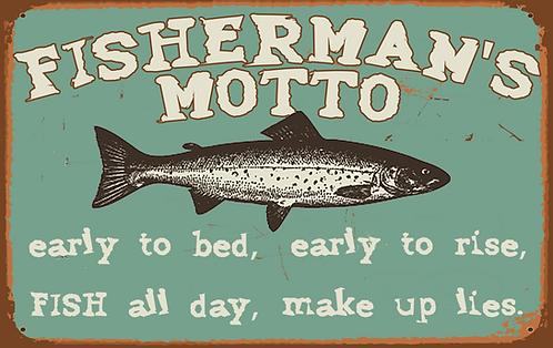 Fisherman's Motto Tin Sign