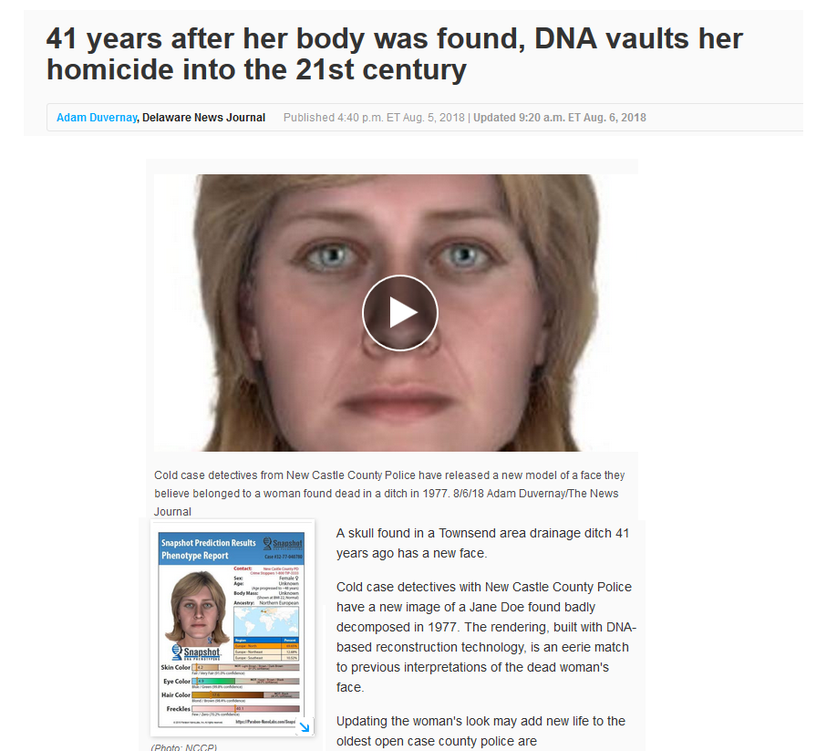 Parabon Labs creates new face for unidentified woman based on DNA