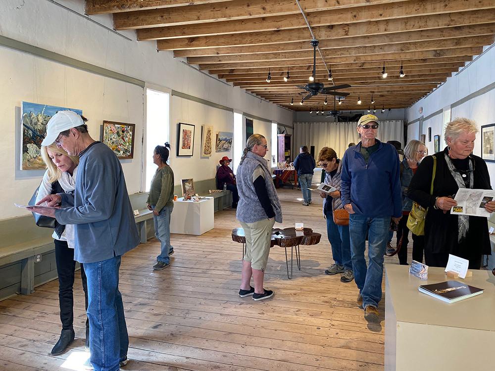 The group installation of all Galisteo Studio Tour participants at the Galisteo Arts Center. La Sala de San José