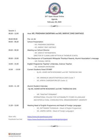 SKT Online Open House 2021 Schedule