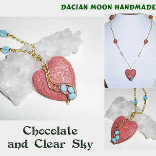 """Chocolate and Clear Sky"" necklace"