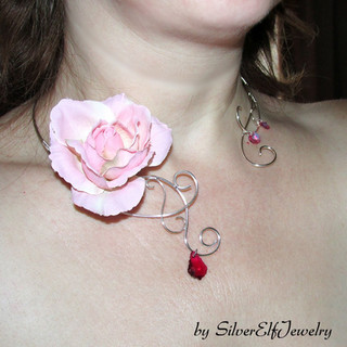 Rose Torc Necklace And Earrings