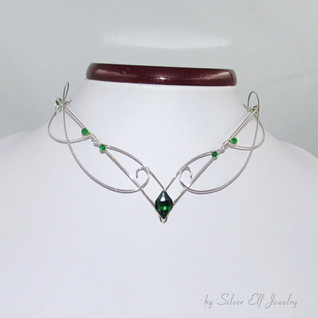 Elven Necklace In Silver And Green
