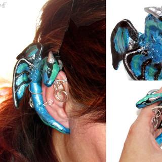 Blue Dragon ear cuff