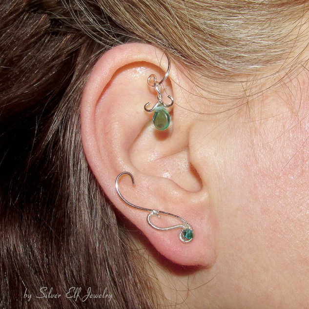 Elven Earrings With Aqua Swarovski Crystals