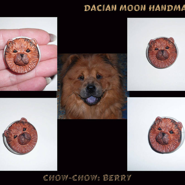 """Chow-chow: Berry"" brooch"
