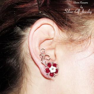 Red Elven Flowers Ear Studs