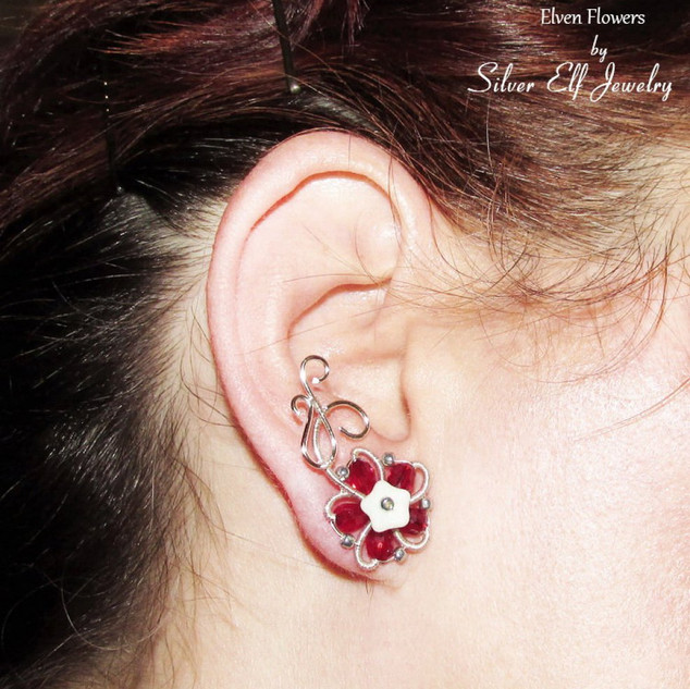 Red Elven Flowers Ear Studs