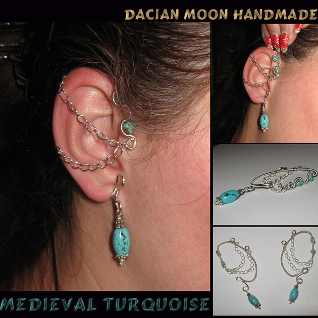 """Medieval Turquoise"" ear wrap"