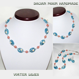 """Water Lilies"" jewelry set"