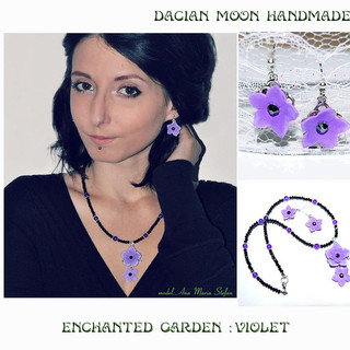 """Enchanted Garden : Violet"" jewelry set"
