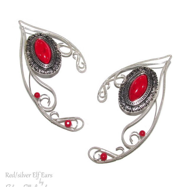 Red / Silver Elf Ears