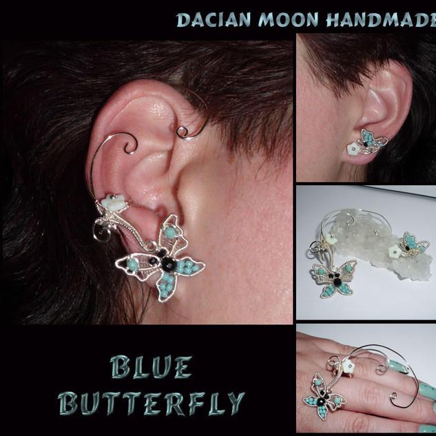 """Blue Butterfly"" ear cuff and ear stud"