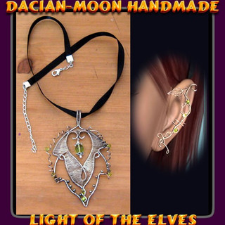 Light of the Elves pendant and ear cuff