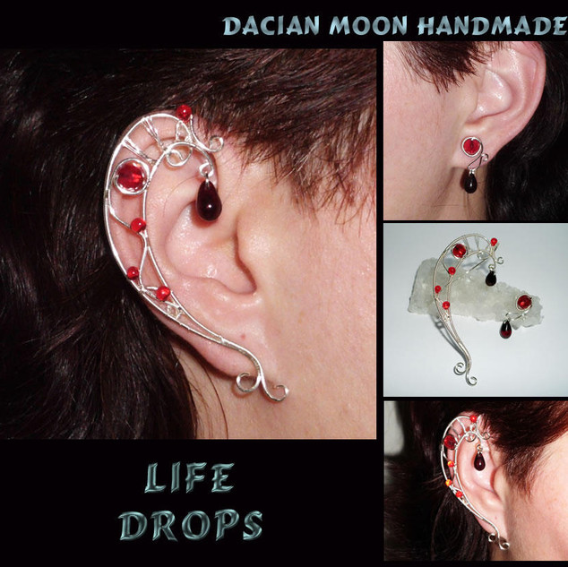 """Life Drops"" ear cuff and ear stud"
