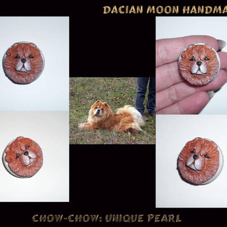 """""""Chow-chow : Unique Pearl"""" brooch"""