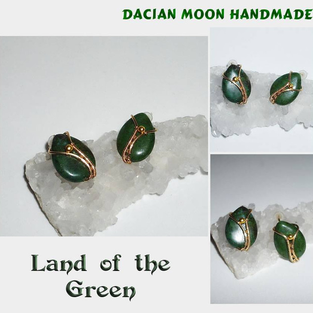 """""""Land of the Green"""" ear studs"""