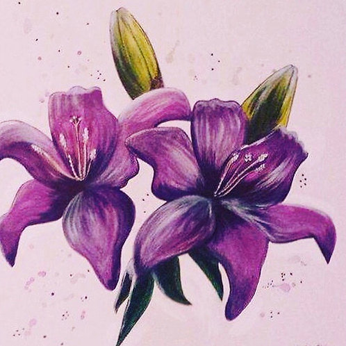 Hand painted purple flower art