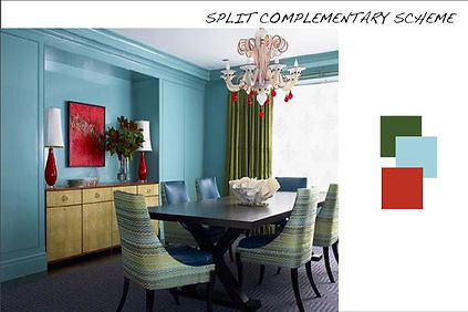 In This Dining Room The Split Complementary Color Scheme Is Very Well Done Designer Plays With Tints And Tones Just As Much Palette