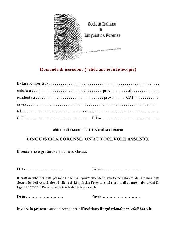 Domanda di iscrizione seminario forense