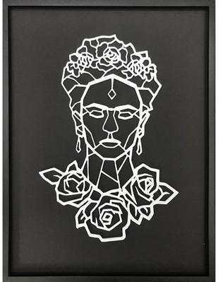 Figura Geométrica de madera enmarcada Frida