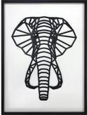 Figura Geométrica de madera enmarcada Elefante
