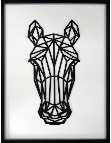 Geométrica de madera enmarcada Horse