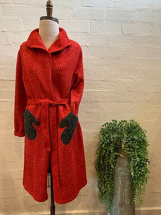 Roam long red belted jacket with grey hand pockets