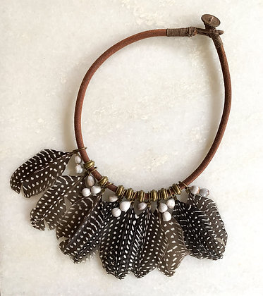 Guinea Fowl feather choker necklace
