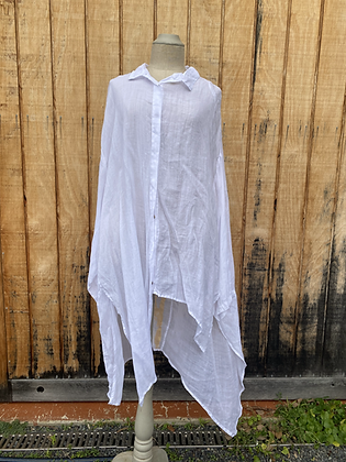 Banana Blue White Linen Duster Jacket with Gold