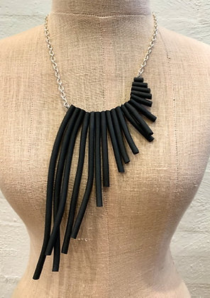 "We Too Are One ""Izanda"" Asymetrical rubber & chain necklace"