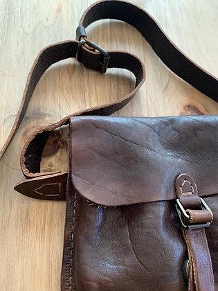 Dark brown leather belt bag by Inkolives