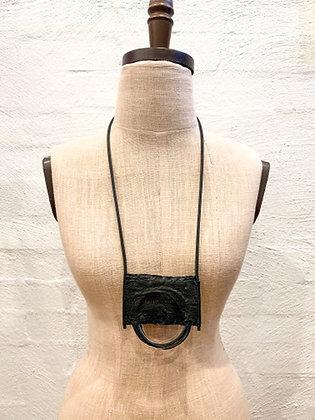 Marija Bajevska Eel skin, metal & rubber looped necklace