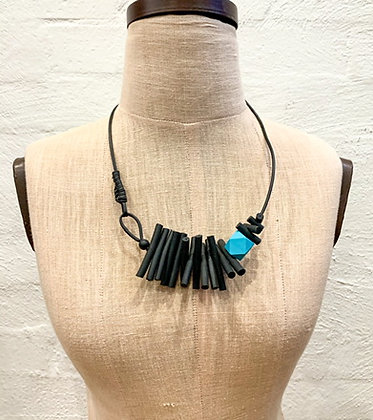 """We Too Are One """"Izanda"""" Bead Feature Rubber Collier Necklace"""