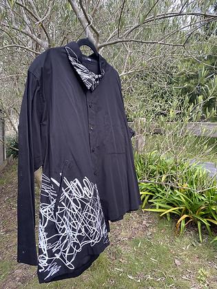 Moyuru Printed Black Shirt