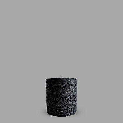TEXTURED CANDLE - BLACK - S (10X10 CM)