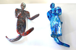 Bendable Sculpted Men Red and Blue FRONT VIEW