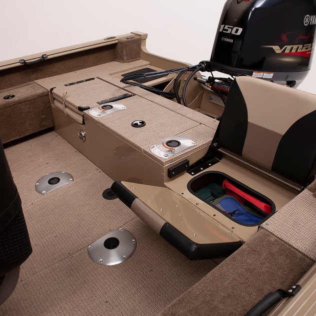 Angler V17 SF Jump Seat Showing Storage.