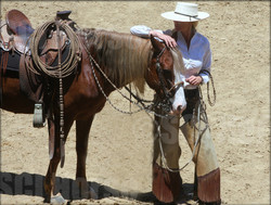 Prancer and Laura Fullilove - Santa Cruz Island Horse - Early Californio Skills