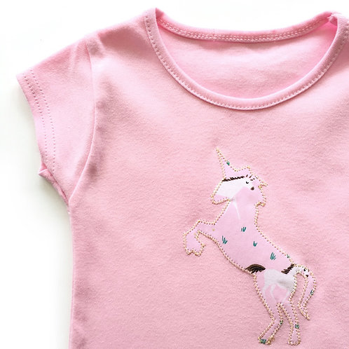 Pink Appliquéd Unicorn T-shirt