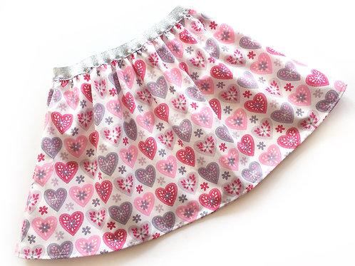 Flared Heart Print Skirt