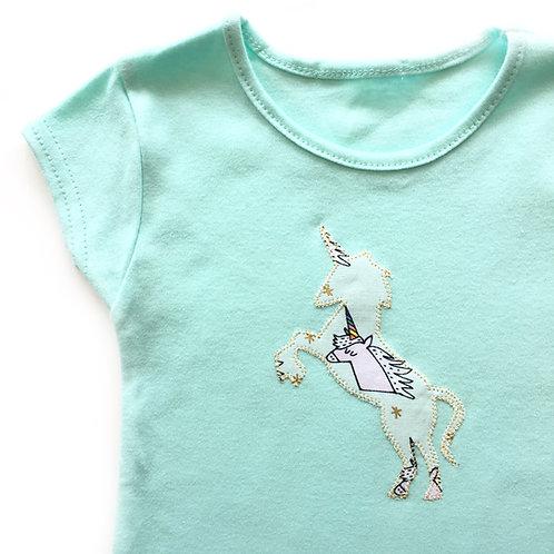Turquoise Appliquéd Unicorn T-shirt