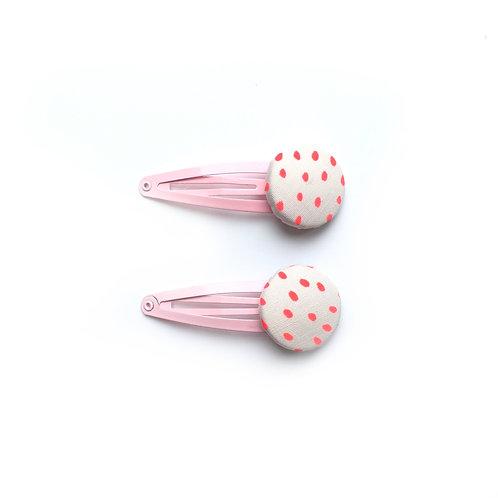 Neon Pink Spot Hair Clips