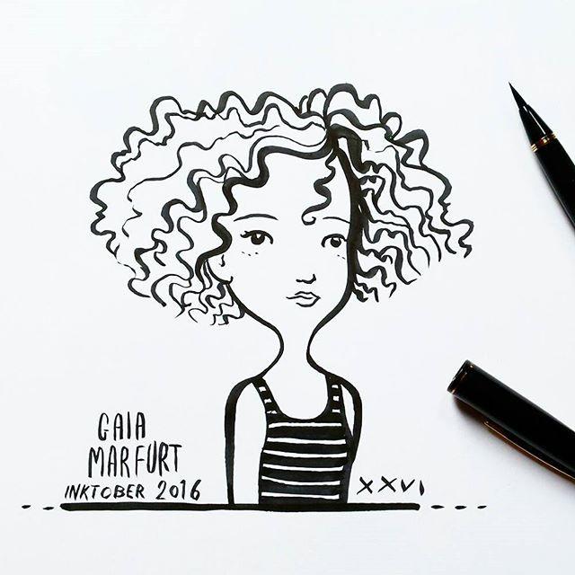 Inktober 2016 26th sketch ☺_#inktober2016 #inktober #kuretakeinktober #sketching #inkbrushpen #girl #curlyhair #SFdesignerlove #artlicensing