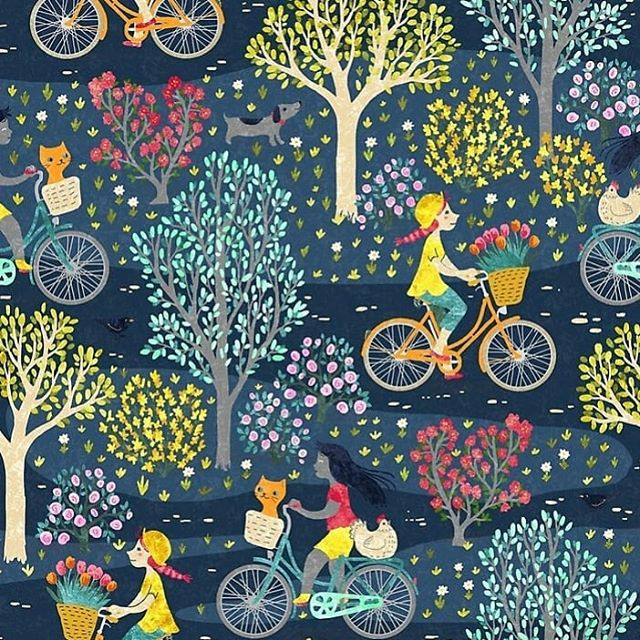 My entry for the next Spoonflower challenge about cycling 😊__#spoonflower #redbubble #fabrics #textiledesign #surfacedesign #cycling #bicycl